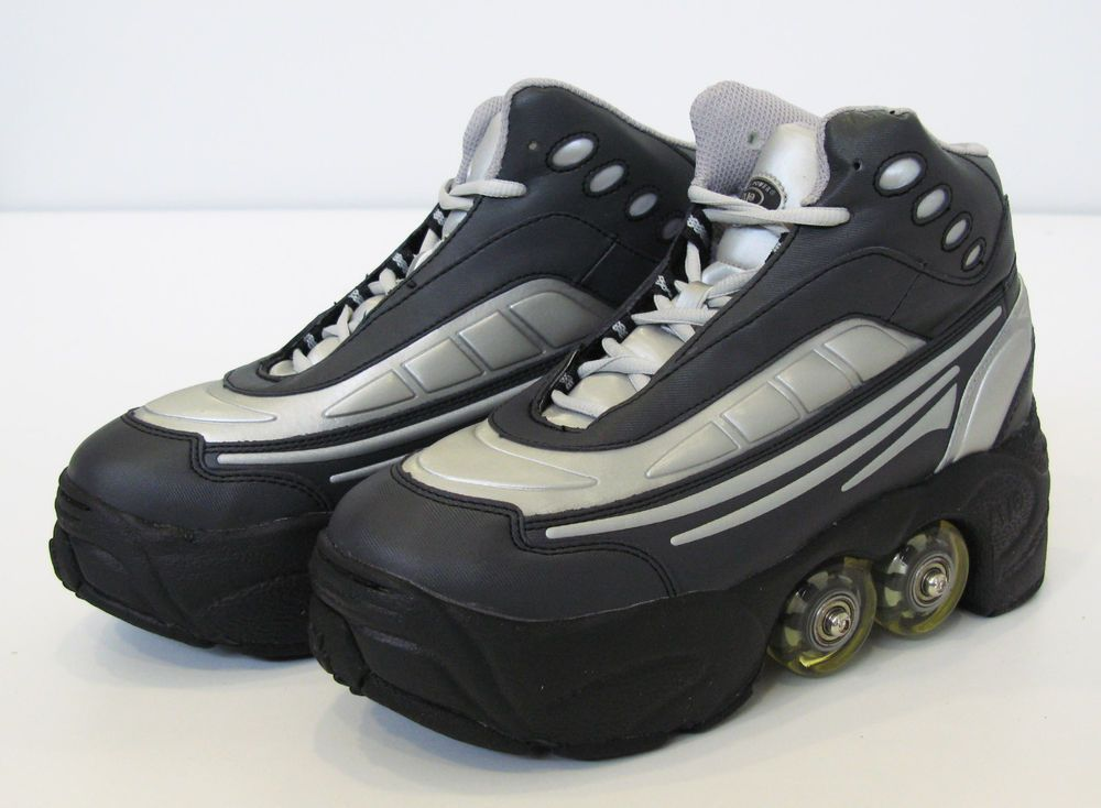 a7036da3d50 Quad Kick Roller Skate Shoes 4wheels retractable BN  BLK SLV  KICKROLLERS