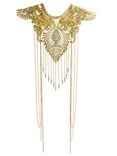 Marletta, Metallic Gold Lace, Gold Body Chain Jewelry, Body necklace, Belly Chain