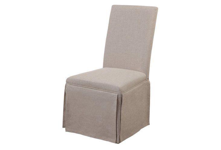 Julia Skirted Linen Side Chair, Beige