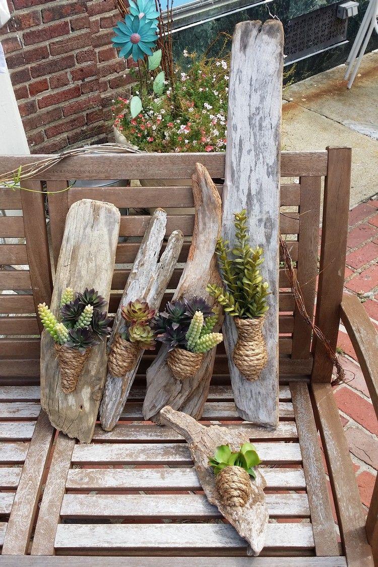D co bois flott plantes succulentes la nature s 39 invite chez vous deco floral - Chaise bois flotte ...