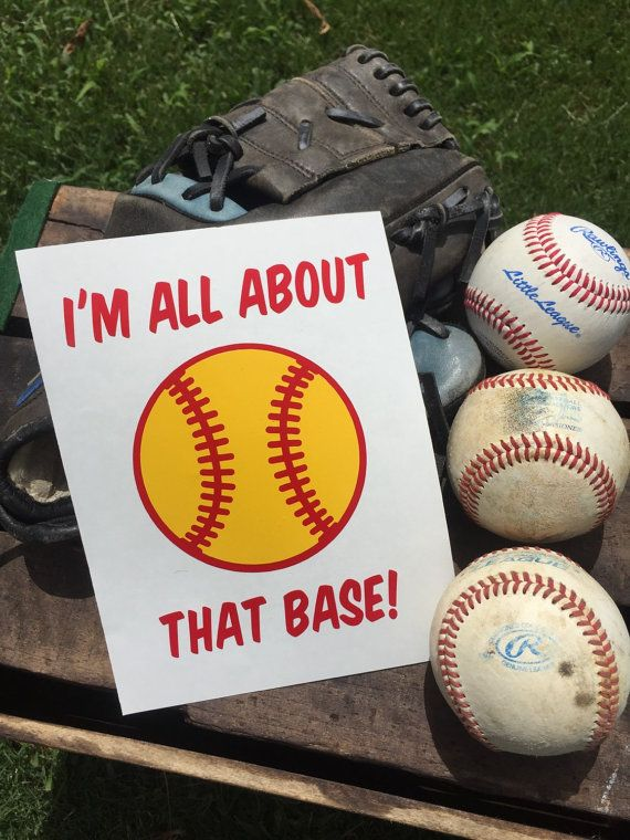 Custom Im All About That Base Vinyl Decal Softball Bumper Sticker - Custom vinyl baseball decals