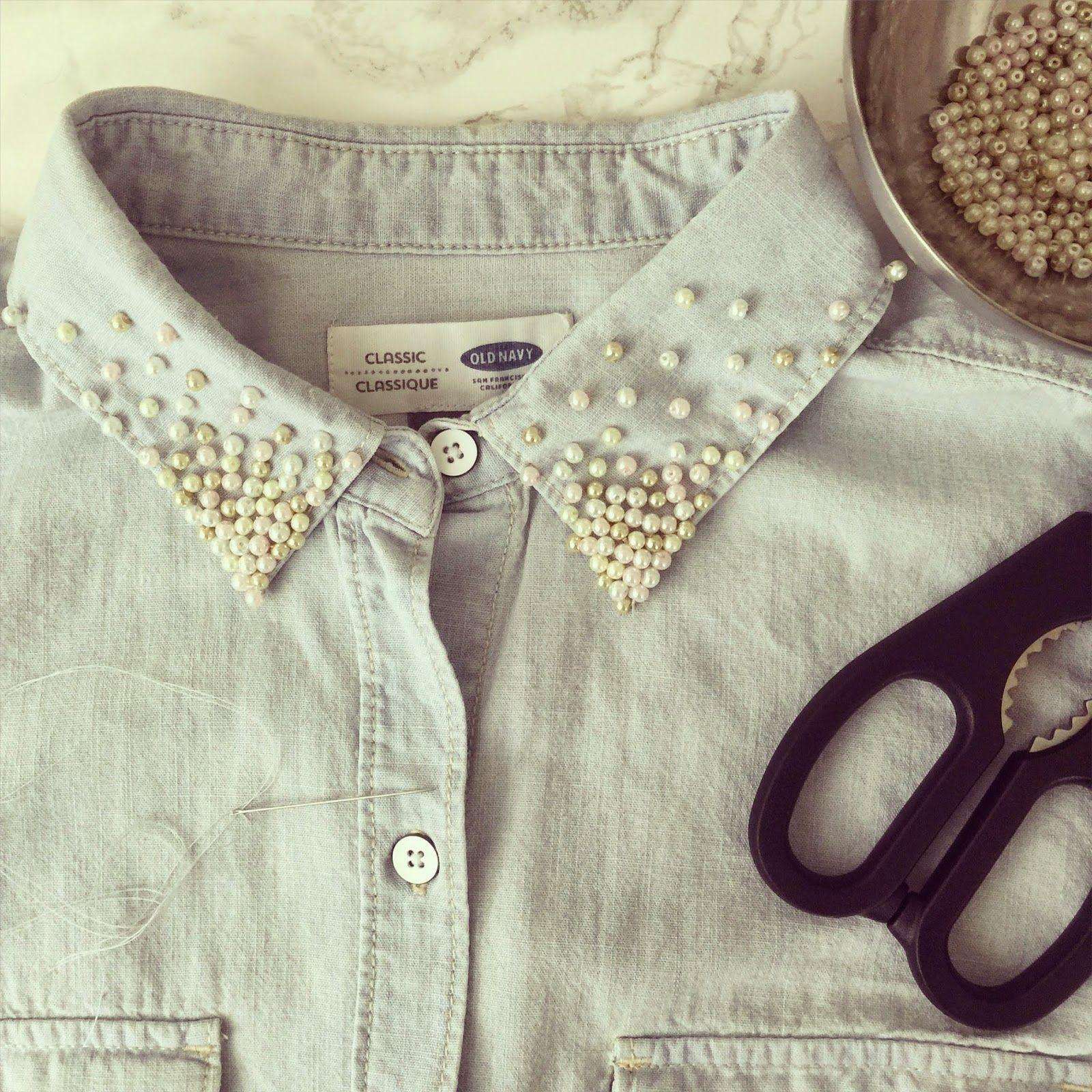 Diy pearled collar pearls diy upcycle shirt old shirts