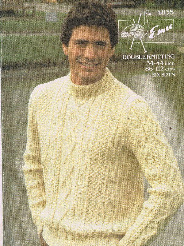 "DK 4ply  Knitting Pattern  Men/'sLadies Jumper Sweater Size 34//44/"" Chest"