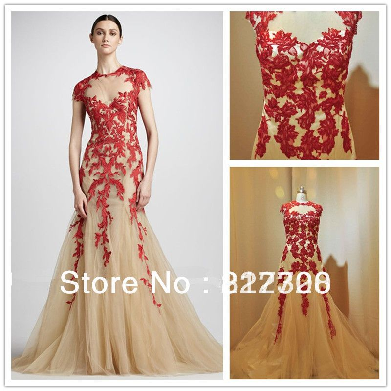 Wedding Dress Picture - More Detailed Picture about 2013 Elie Saab Dresses For Sale Designer Nude Applique Short Sleeve Red Lace Tulle Long Evening Dresses With Open Back ES00512 Picture from Xinqi Han's store