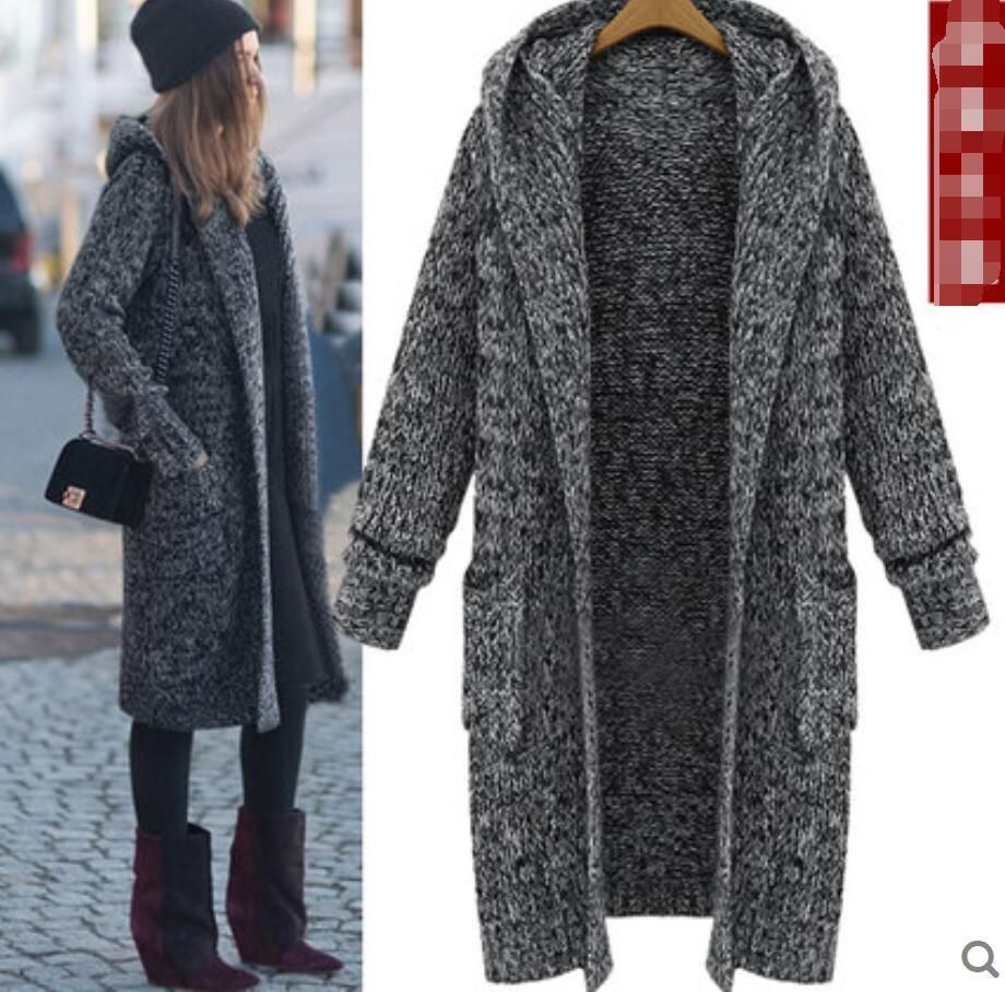 Women's Long Hooded Thicken Knitted Cardigan Straight Coats Parka ...