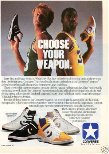 580a2062023cb9 1986 Converse Weapons Basketball Shoe Magazine Ad w Larry Bird Magic Johnson