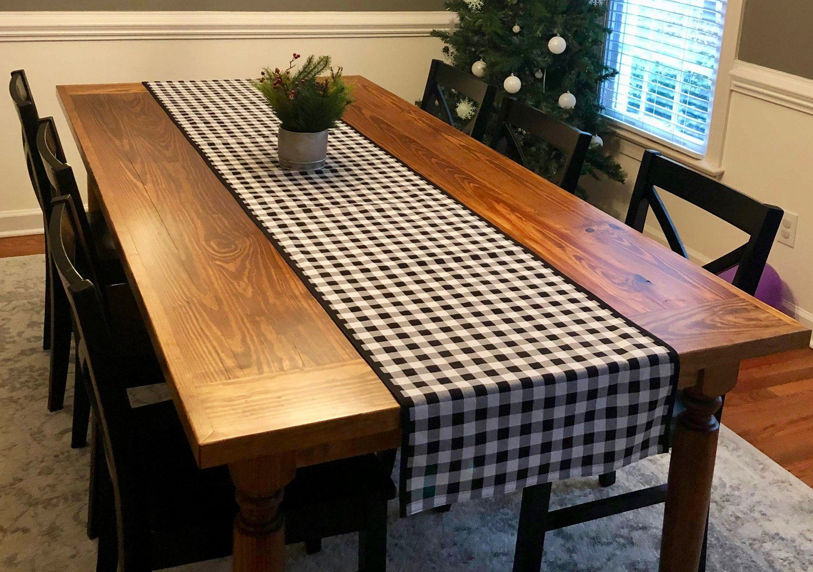Buffalo Plaid Table Runner, Black and White Check, Rustic