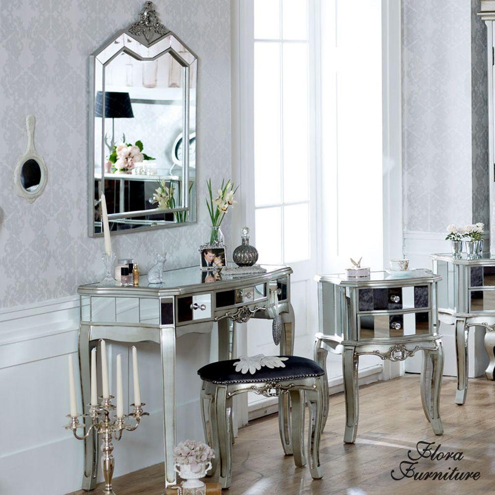 Tiffany Range Mirrored 3 Drawer Dressing Table, Stool