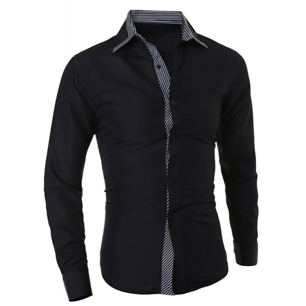 15.81$  Buy now - http://dijyz.justgood.pw/go.php?t=169423001 - Turn-Down Collar Color Block Stripes Print Long Sleeve Men's Shirt