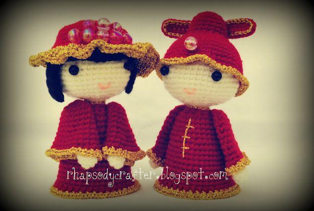 crocheted amigurumi chinese wedding dolls | Rhapsody Crafts | Pinterest