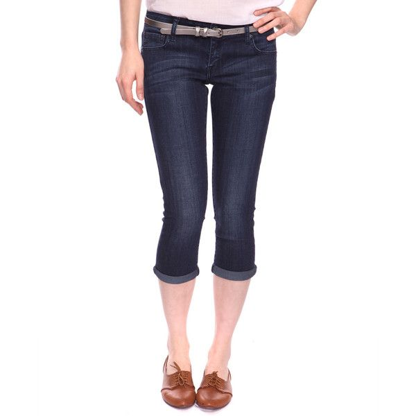 Denim Capris w/ Belt ($17) ❤ liked on Polyvore featuring bottoms, women and forever 21