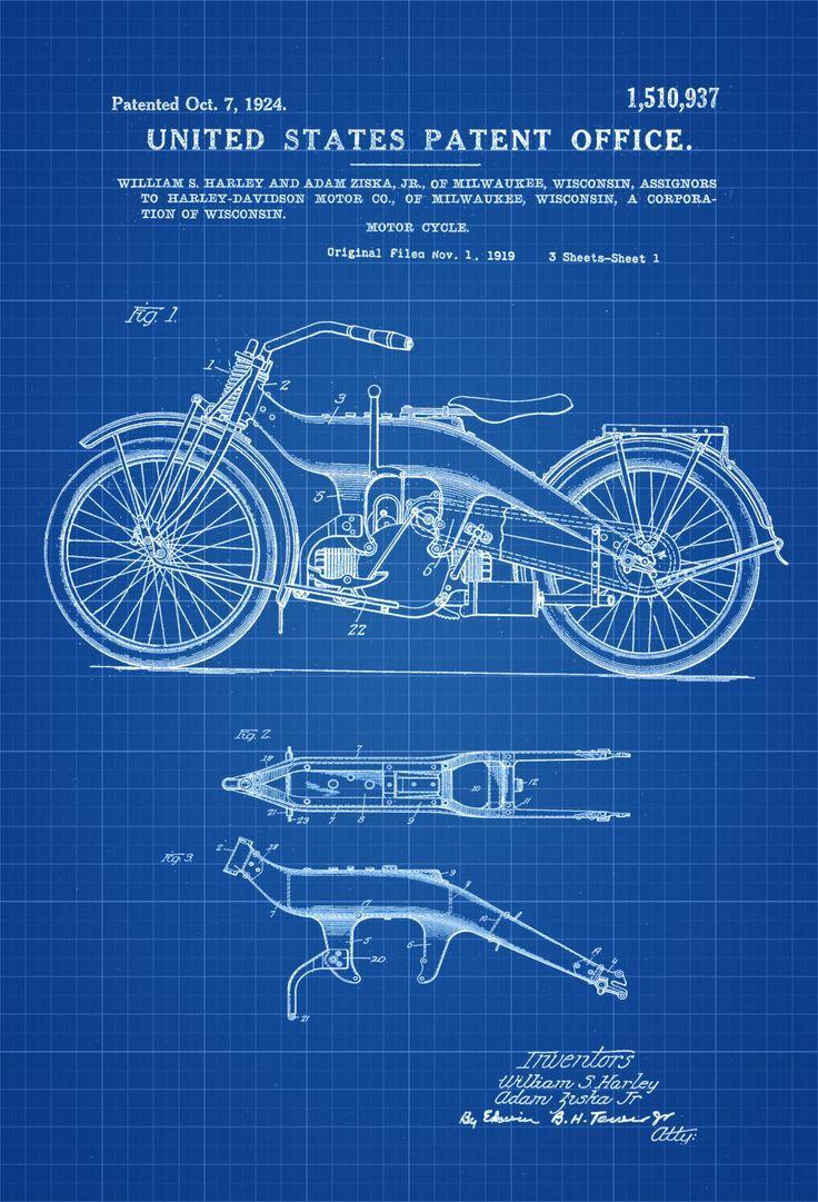 Harley Motorcycle Patent   Patent Print, Wall Decor, Motorcycle Decor, Harley  Davidson Art