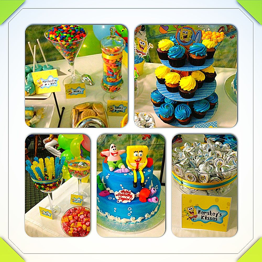 Birthday Party Buffet Table: Spongebob Candy Table