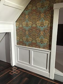First, I drew out the design on card stock. Standardwainscoting is 3 foot tall so in 1:12 scale that's 3.      Then I cut the mat board... #dollhouseminiaturetutorials