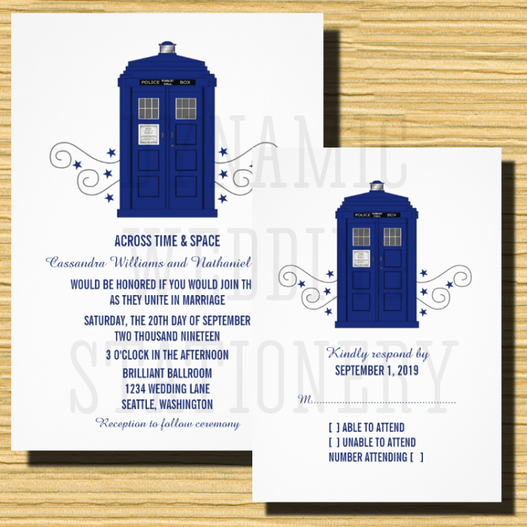 Doctor who wedding invitations offbeat bride weddings and wedding doctor who wedding invitations stopboris Gallery