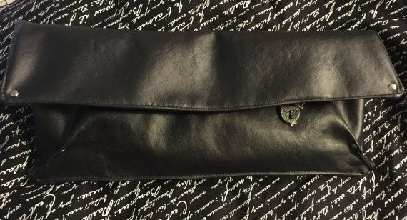 Black, Soft, Faux Leather Clutch, Handbag, Purse, Snap Closure, Zipper Front Pocket, Casual, Evening, French