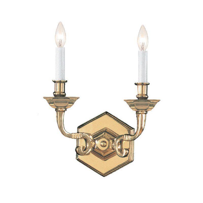 Crystorama 612-PB 2-Lights Traditional Polished Brass Wall Sconce - Polished Brass