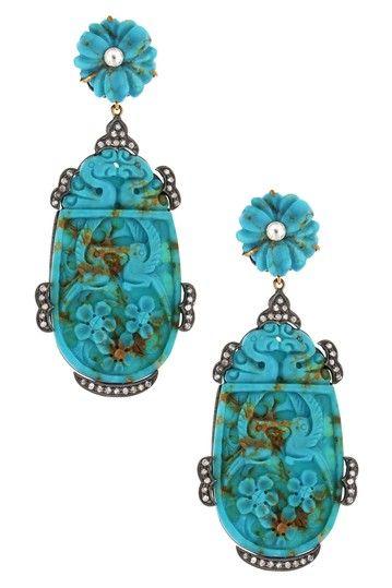 Angelique de Paris Carved Persian Turquoise & Diamond Drop Earrings