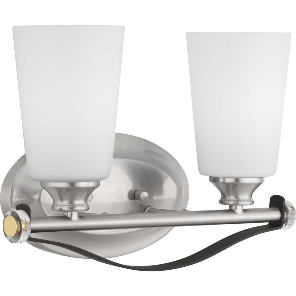 Photo of Progress Lighting Nealy Collection 2-light basin lamp made of brushed nickel P300141-009 – The Home Depot