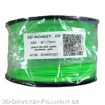 ABS Filament 1,75mm 1kg glow green grün zertifiziert