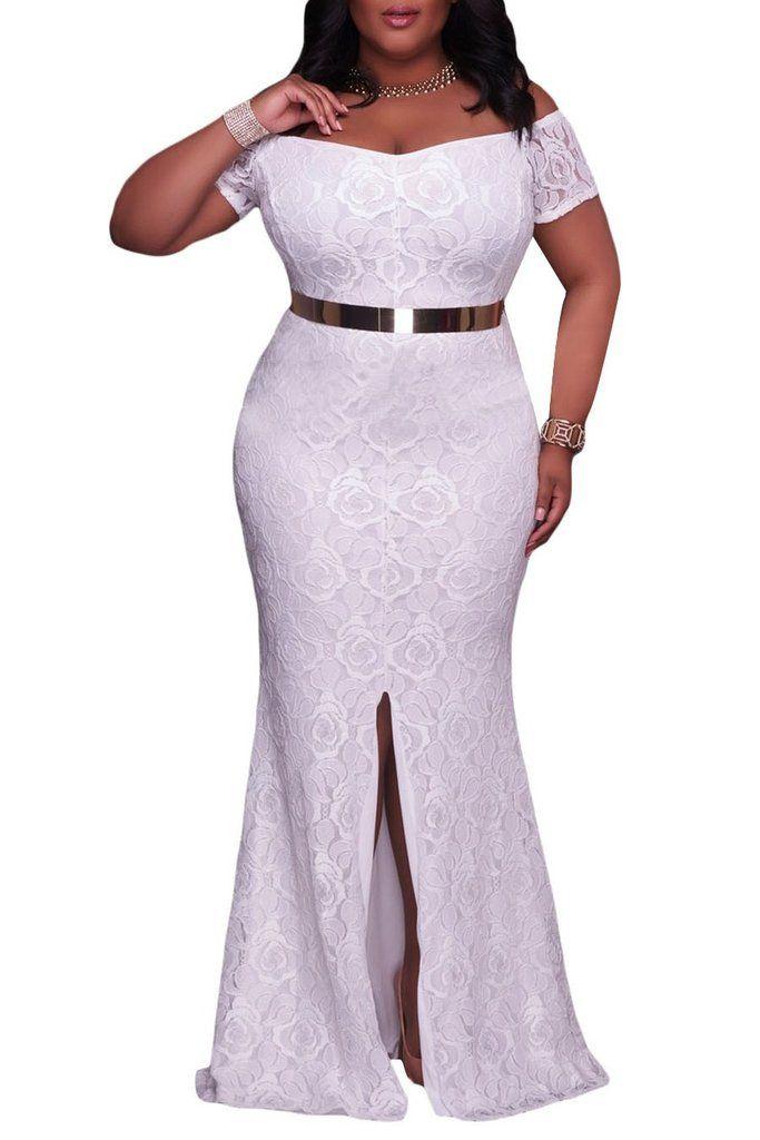Off Shoulder Short Sleeve Split Plus Size White Lace Gown Lace