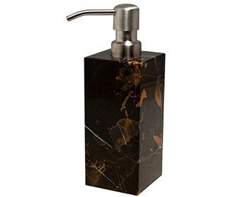 Marble Crafter Myrtus Soap Dispenser BA02-1BG - Marble Crafter Myrtus Soap Dispenser BA02-1BGSKU: BA02-1BGManufacturer: Marble CrafterCategory: Bathroom AccessoriesSub-Category: MyrtusMaterial:  MarbleFinish: Black & GoldWeight: 3 lbsDimensions: 2-1/2 x 2-1/2 x 6-1/4