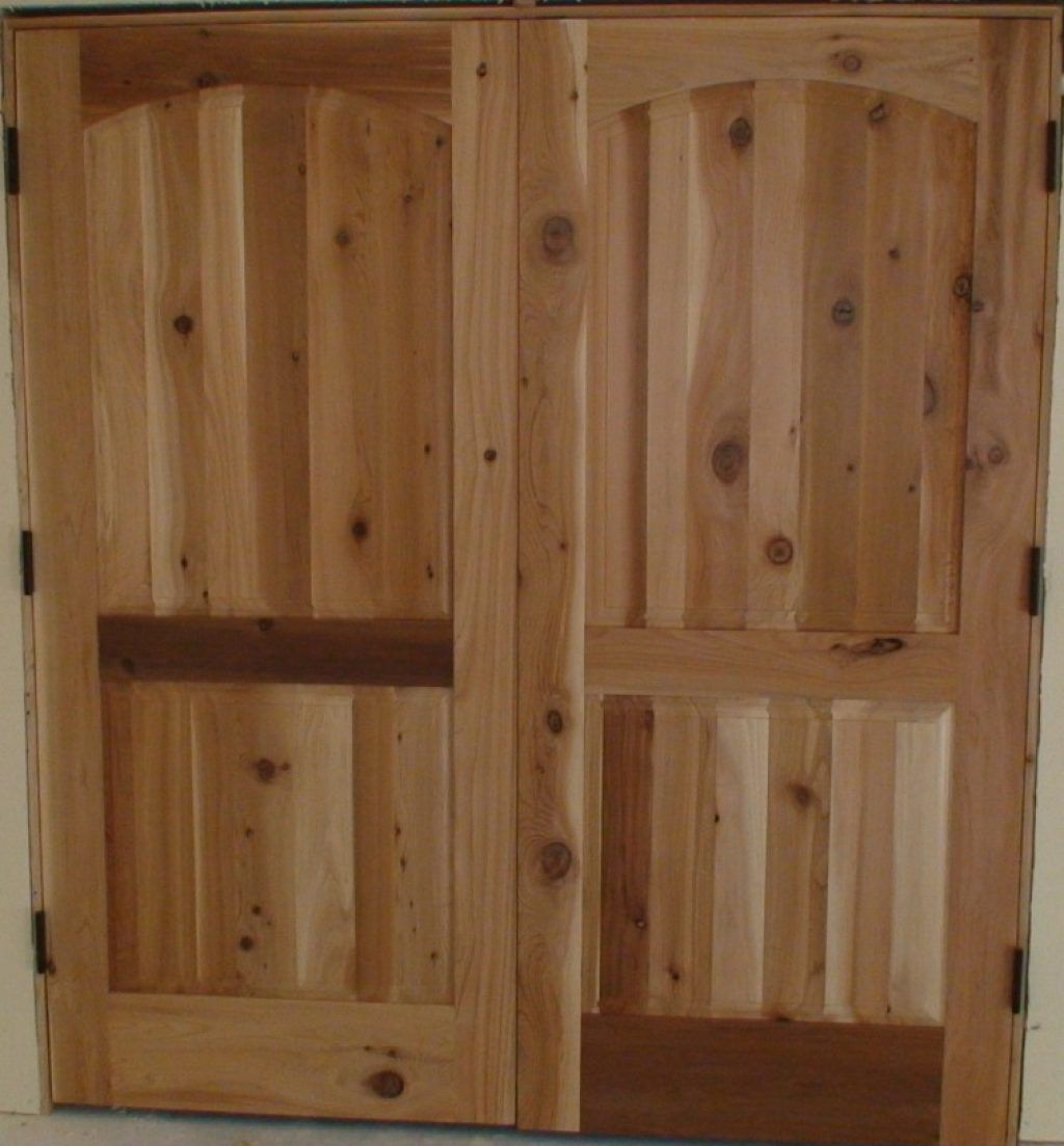 Awesome Country Lacquered Hickory Wood Double Swing Door With Door Closets  And New Closet Doors