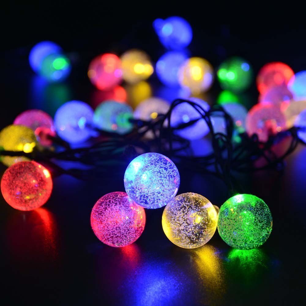 solar outdoor string lights multi color crystal ball solar powered globe fairy lights for garden fence path landscape decoration led multi color home