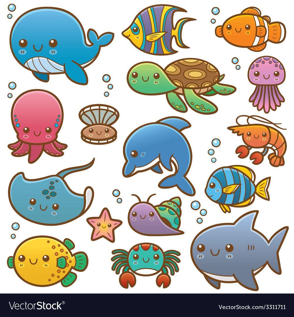 Sea Animals Vector Image On More