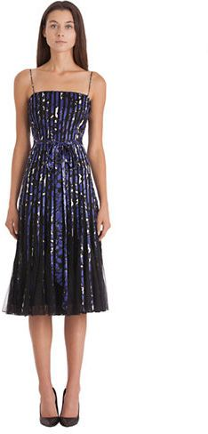 JS COLLECTIONS Printed Satin & Mesh Pleated Dress
