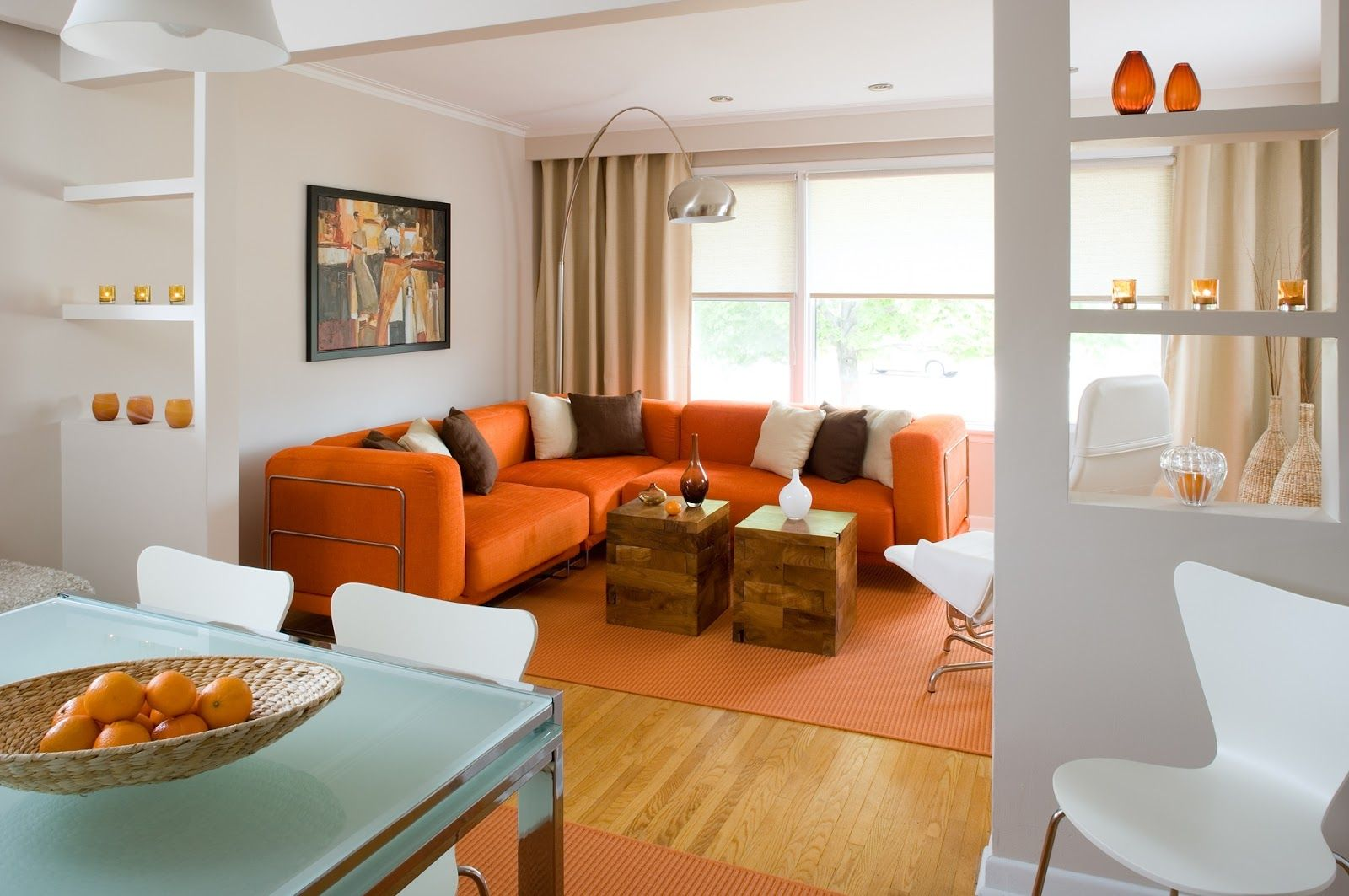 Living Room Ideas Orange Sofa furniture. double square coffee table plus fiber glass chair and