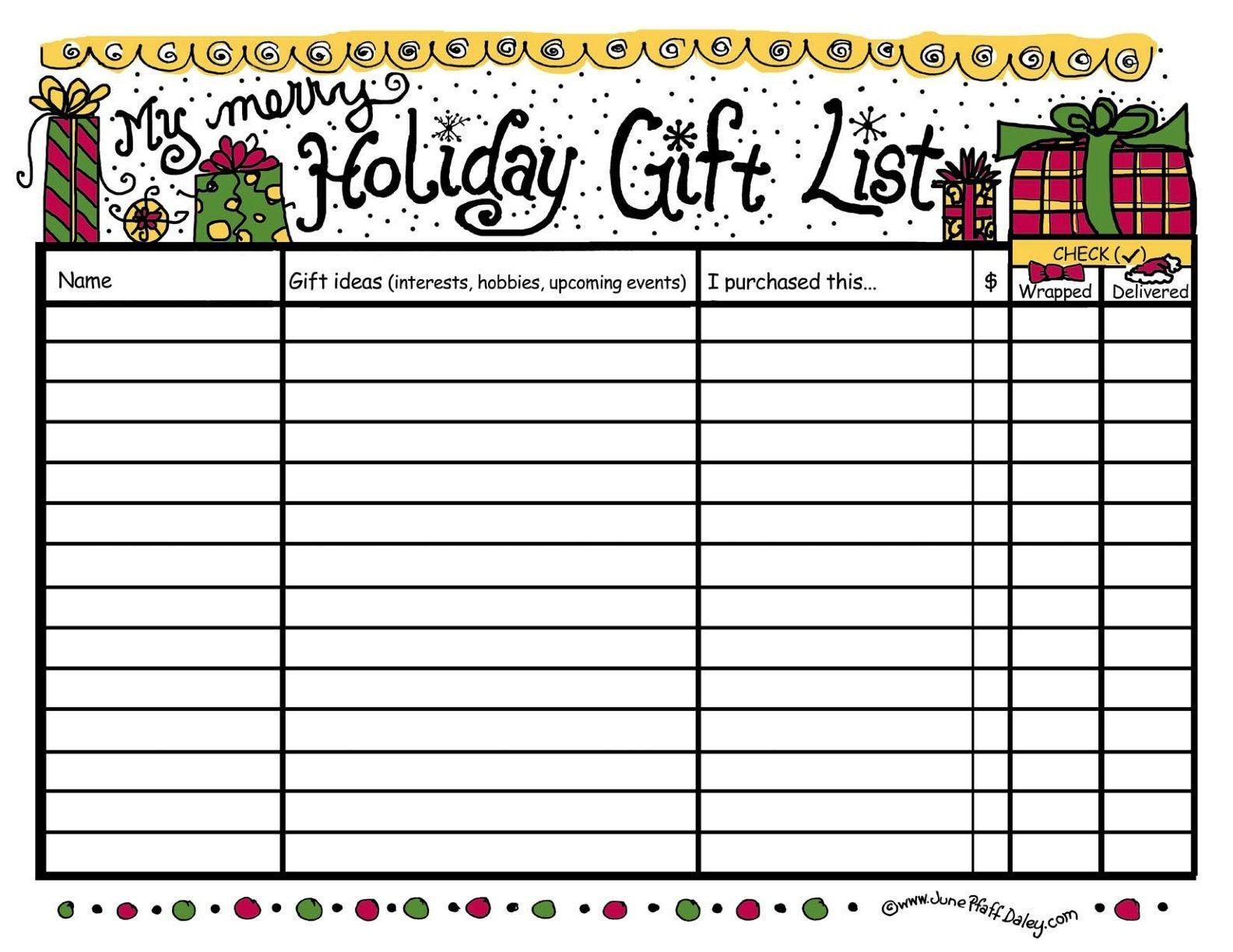 christmas list printable template