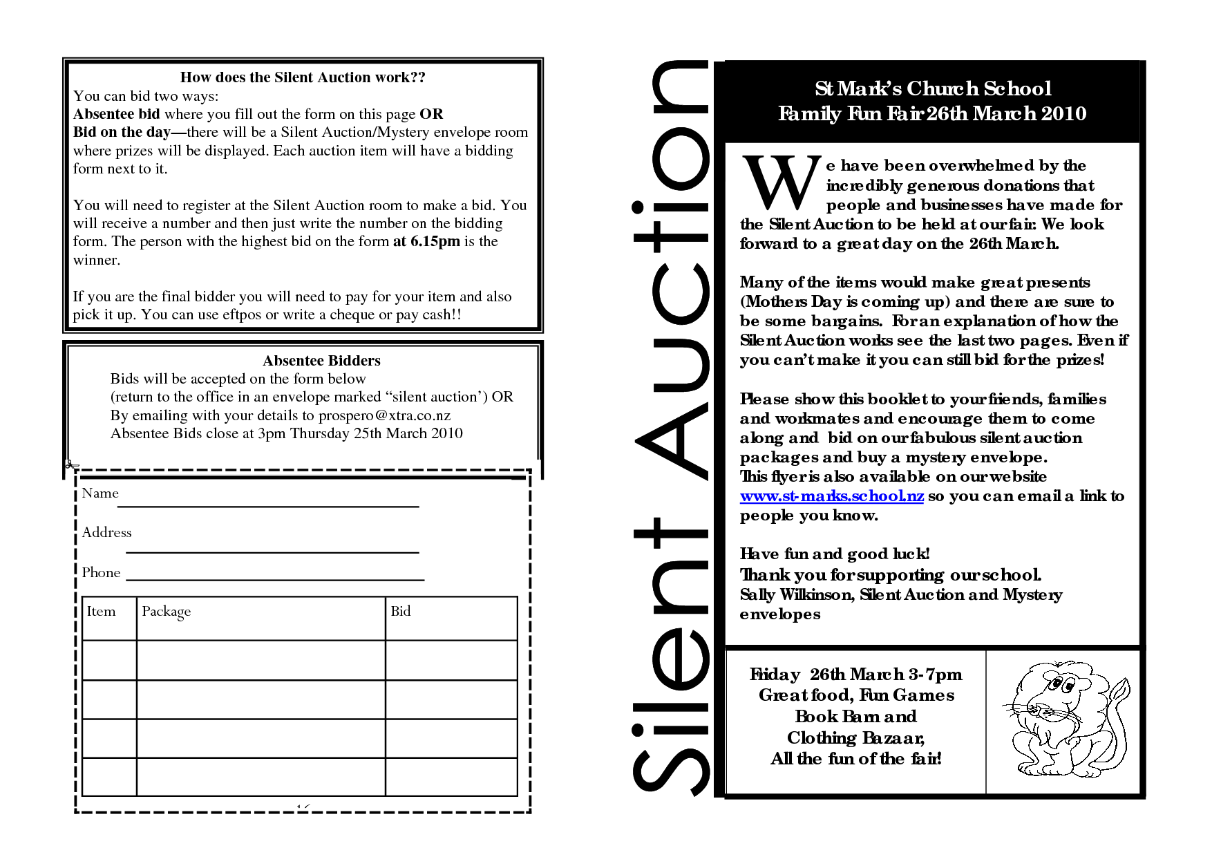 Printable forms for silent auction registration silent for Silent auction program template