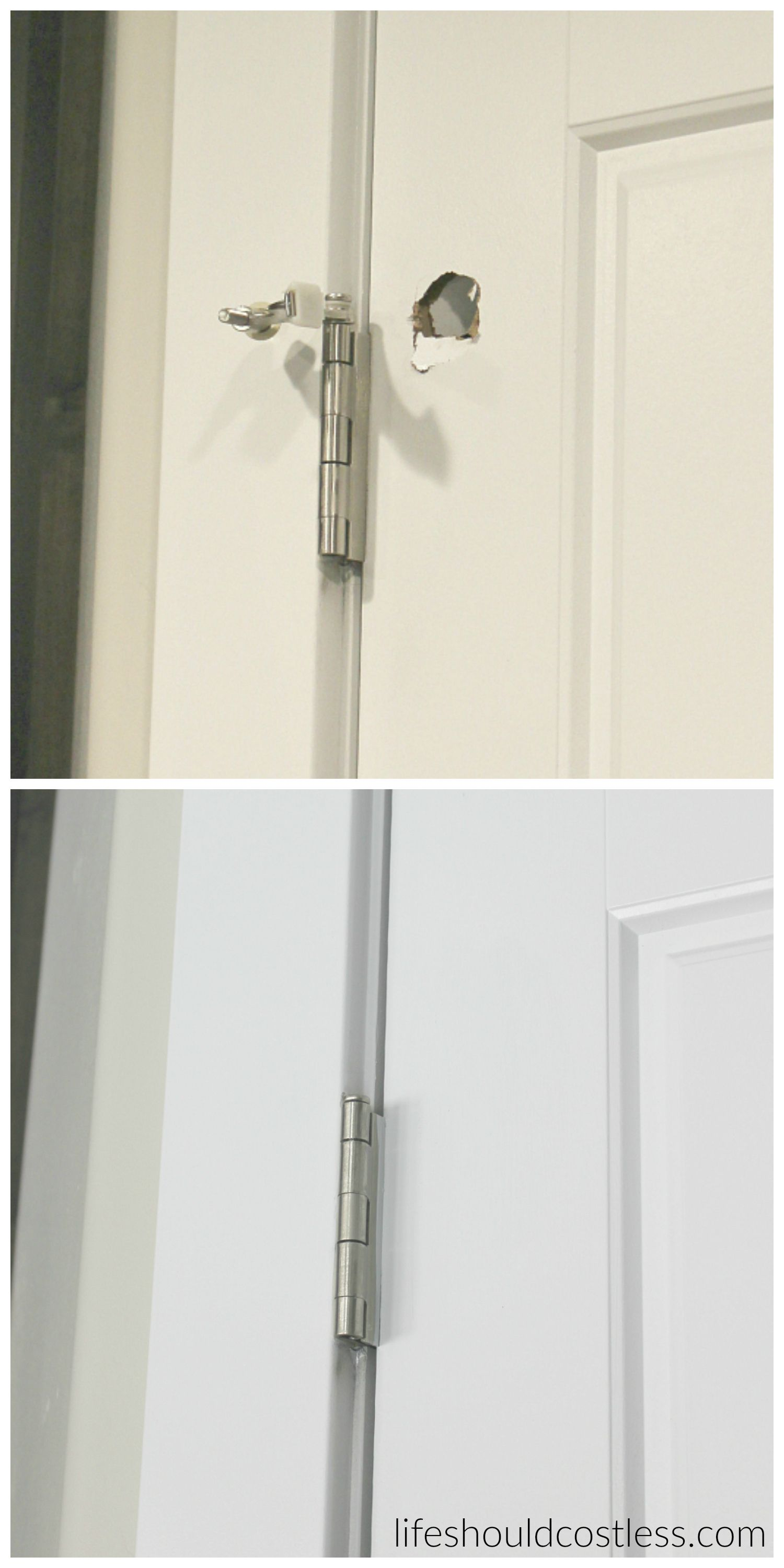 How To Patch A Hollow Door A Must To Know How To Patch Them After Your Kids Pop Holes In Them Diy Home Repair Home Improvement Projects Home Remodeling