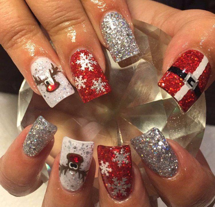 Uñas Plata Rojo Reno Navidad Arte En Uñas En 2019 Pinterest