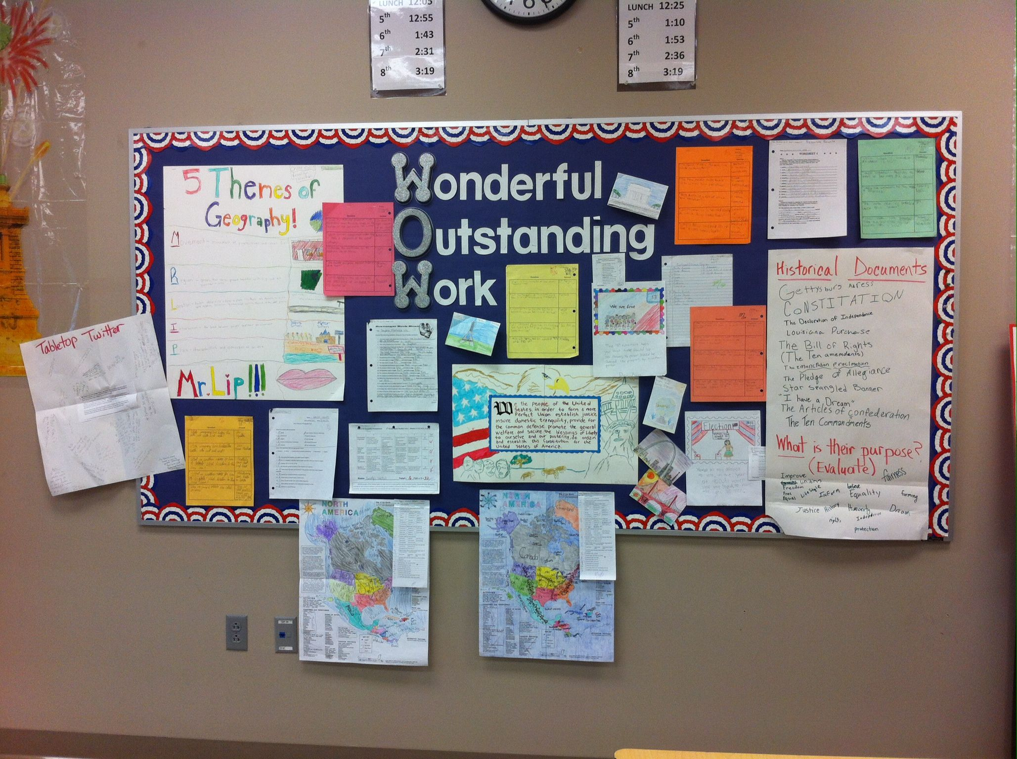 Displaying student work using WOW!
