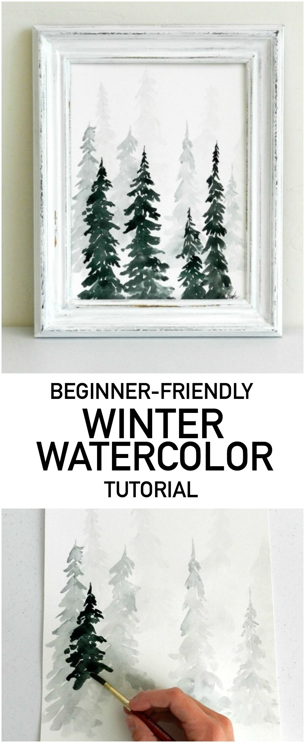 Get Your Winter On! Paint This Fast and Fabulous Watercolor Pine Forest #winterdecor