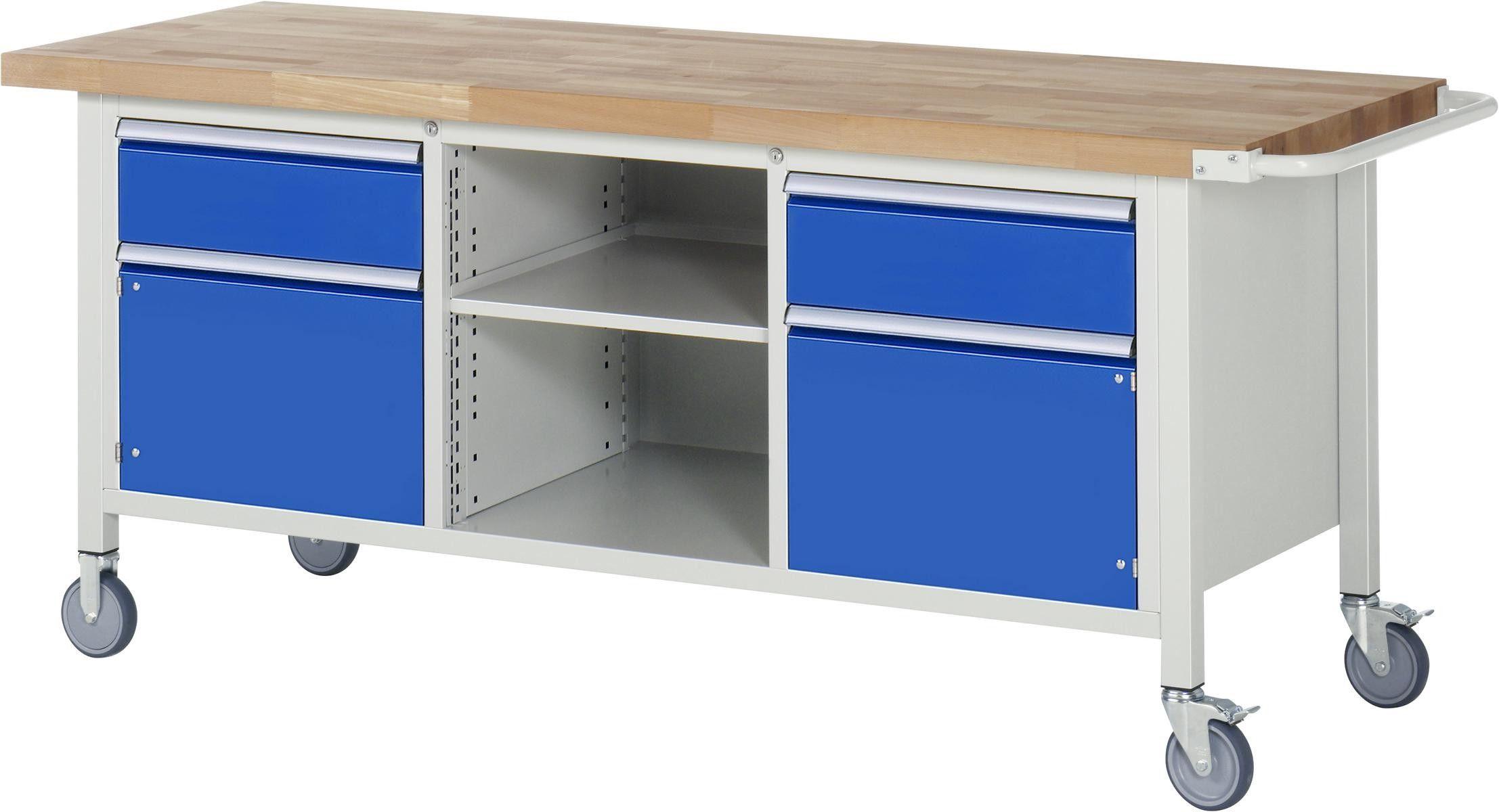 Fahrbare Werkbank 8000 Modell 8561 2000x700x880 1080 Mm Vollauszug Schliessfacher Arbeitsplatte Und Auszug