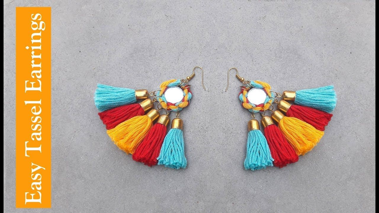Tassel Earrings//How to make tassel earrings at home//DIY