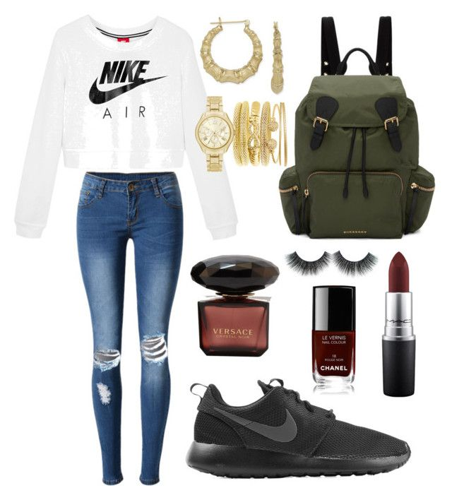 """Friday Nite"" by brini-smalls on Polyvore featuring Mode, WithChic, NIKE, MAC Cosmetics, Burberry, Bamboo und Chanel"