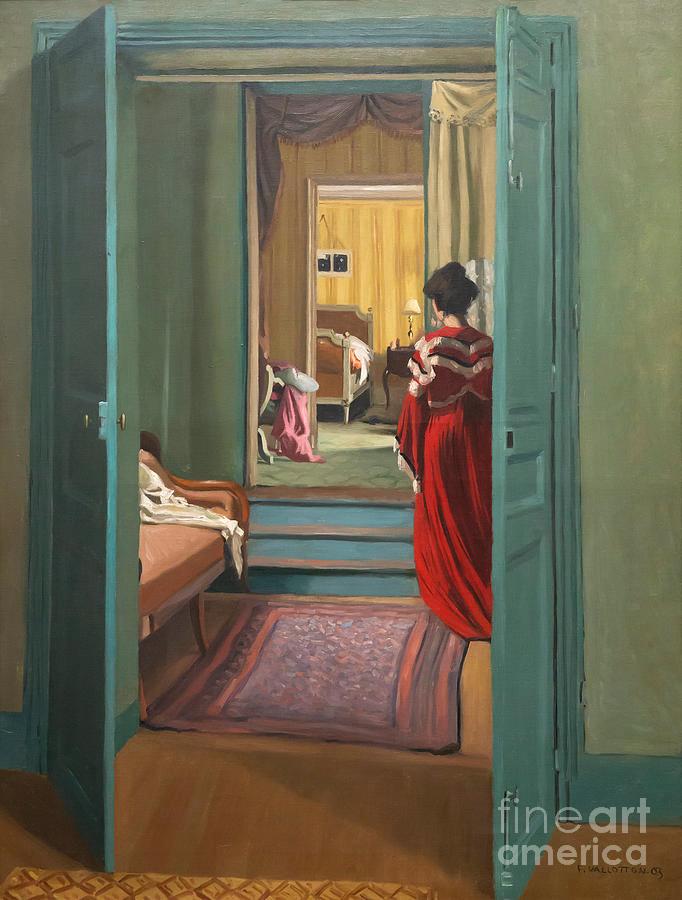 Female Nude in a Red Interior - Felix Vallotton as art