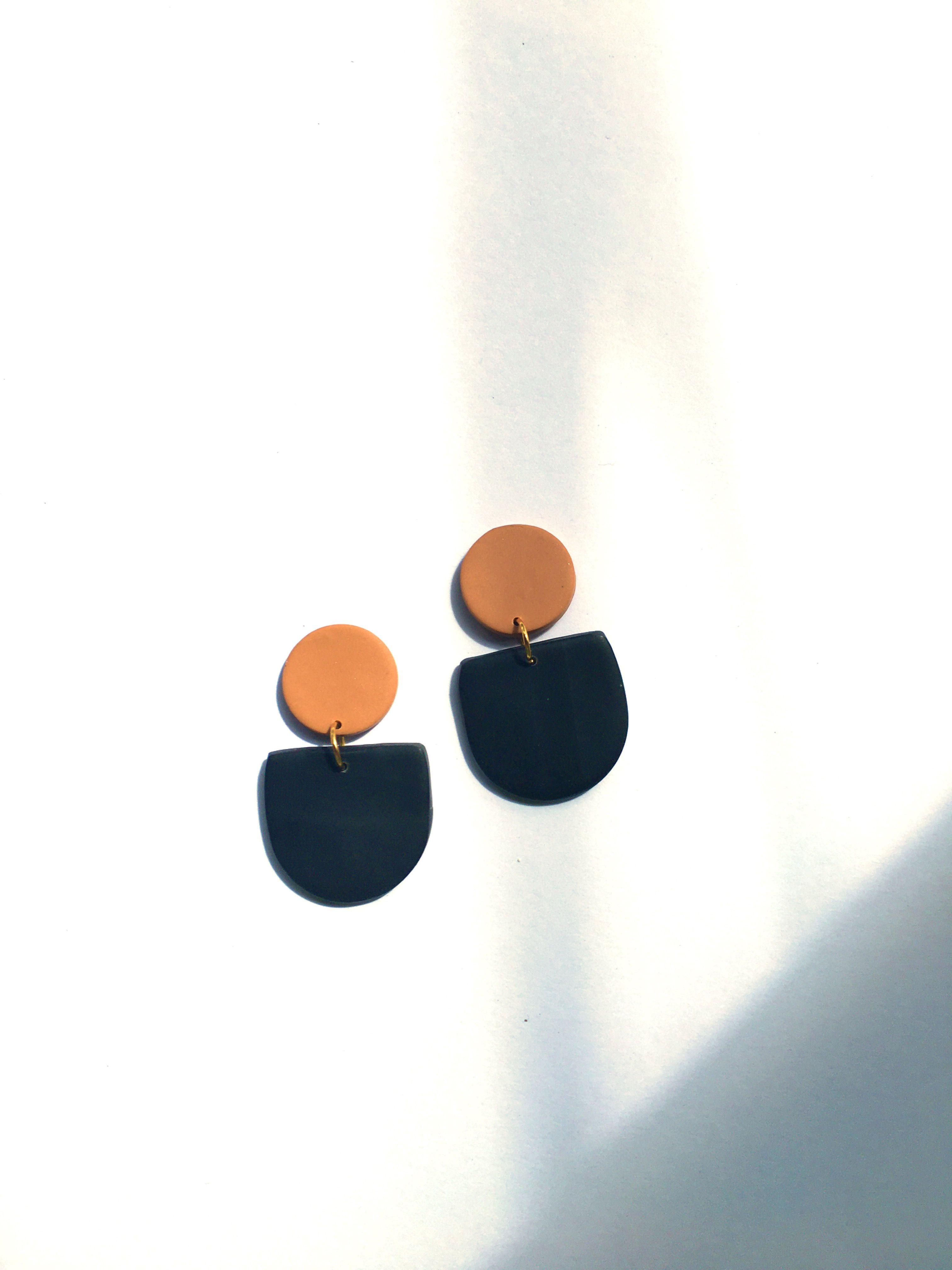 Handmade Marble Green Earrings Gold Foil Earrings