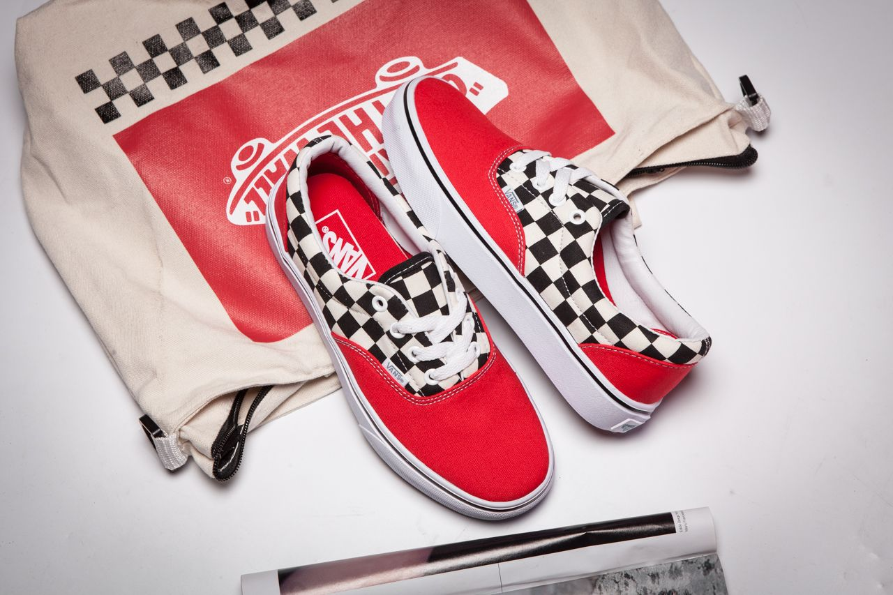 ffb4dc6b20bf Vans Era Red Checkerboard Color Strap Casual Shoe Ly01 Skate Shoes For Sale   Vans