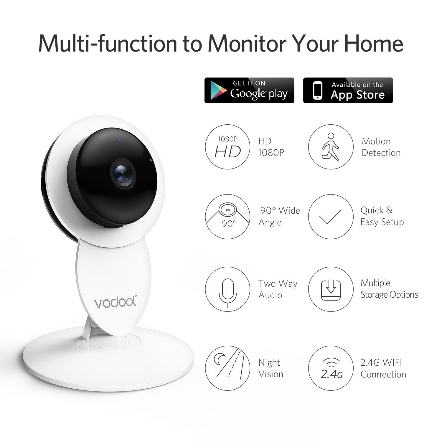Vodool Home Camera 1080p Hd Smart Wireless Ip Security Camera Surveillance Sy Security Cameras For Home Home Security Camera Systems Camera Surveillance System