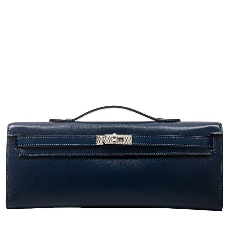 Hermes Kelly Cut Box Bag in Blue de Prusse with Palladium ...
