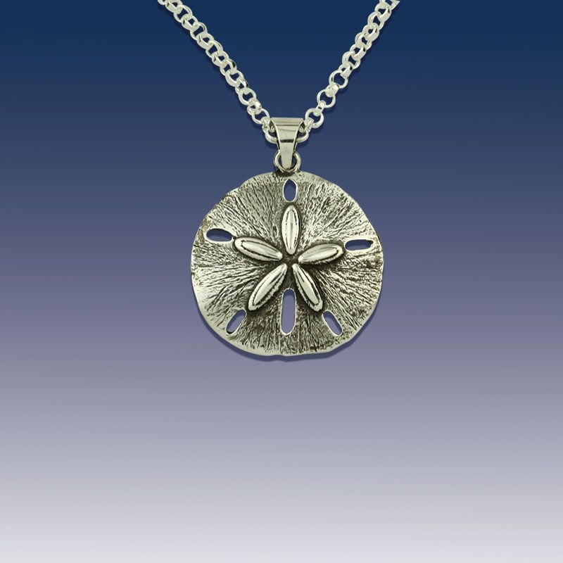 Sand dollar pendant sterling silver with rolo chain designed by sand dollar pendant sterling silver with rolo chain aloadofball Image collections