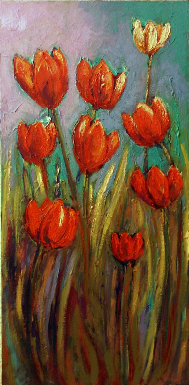 Tulips Oil Painting Expressionist Color Original Julia