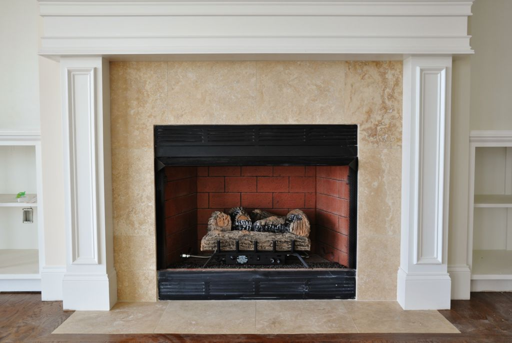 Travertine tile fireplace surround travertine tile - Covering brick fireplace with tile ...