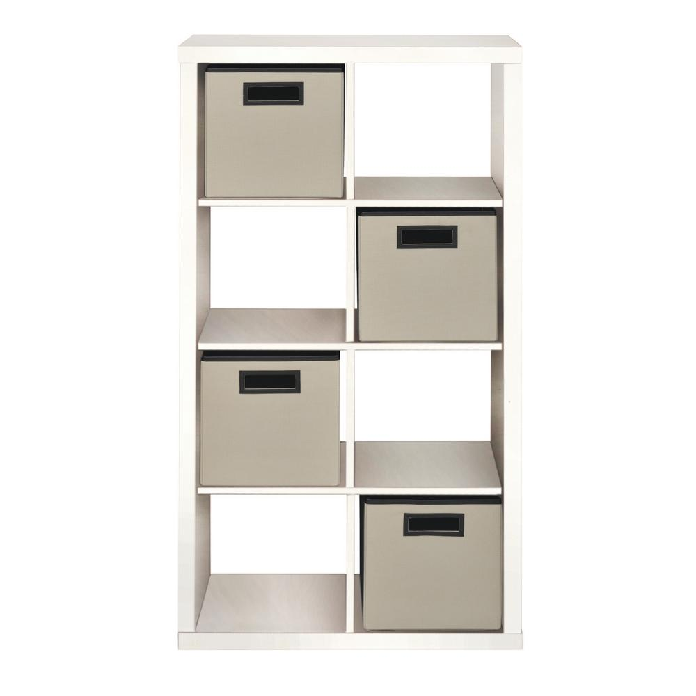 26 42 In X 50 51 In White 8 Cube Organizer With 4 Fabric Bins Thd90020 11a In 2020 Cube Organizer Fabric Bins Cube Storage Unit