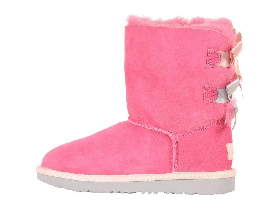 90810d3ec UGG Kids Bailey Bow II (Little Kid/Big Kid) Girls Shoes Pink  Azalea/Icelandic Blue
